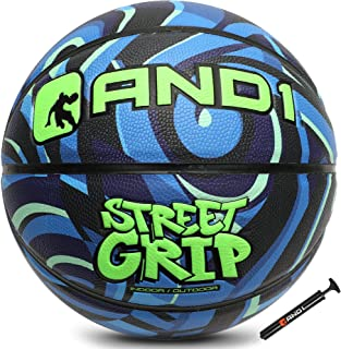 """AND1 Street Grip Premium Composite Leather Basketball & Pump- Official Size 7 (29.5"""") Streetball, Made for Indoor and Outdoor Basketball Games"""