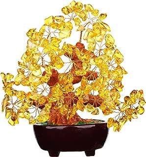 Feng Shui Citrine Gem Stone Money Tree 7 Inch