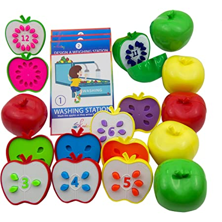 Skoolzy Counting Toddler Games - STEM Apple Factory Learning Toys for 3 Year olds +, Fine Motor Skills, Color Sorting, Montessori Toys for Toddlers, Easter Gifts for Kids - Educational Activities