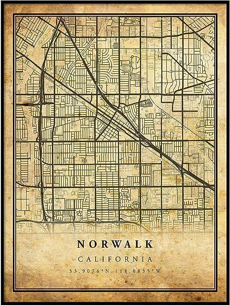 Norwalk print Norwalk art Norwalk map Norwalk city map Norwalk poster Norwalk California map Custom city map Norwalk CA map
