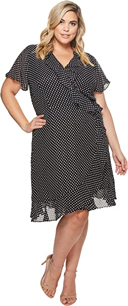 Tahari by ASL - Plus Size Polka-Dot Faux Wrap Dress
