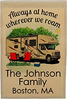 Always at Home Wherever We Roam, Class C Motorhome Campsite Flag Personalized with 3 Lines of Custom Text, Tan RV Printed ...