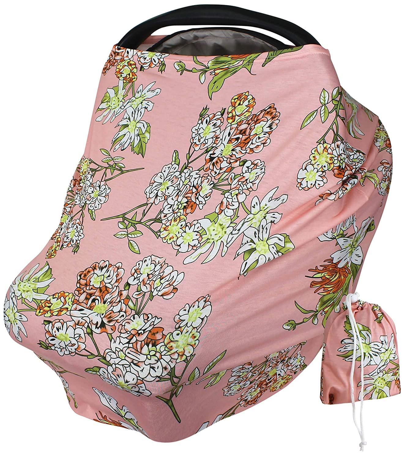 Baby Car Seat Cover Canopy - Coral Geranium Floral Print