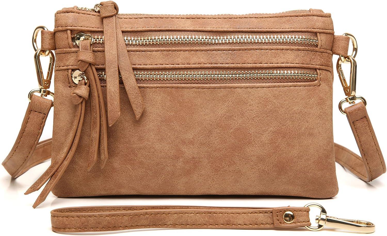Aitbags MultiZipper Pocket Crossbody Handbag Lightweight Purse Functional Clutch with Wristlet
