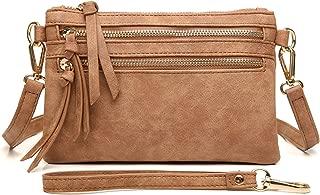 Multi-Zipper Pocket Crossbody Handbag Lightweight Purse Functional Clutch with Wristlet