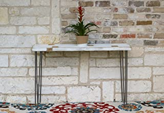 White Farmhouse Industrial 46 Inch Console Table