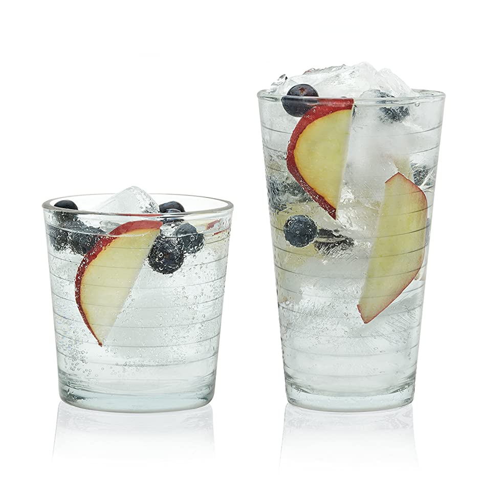 Libbey Hoops 16-Piece Tumbler and Rocks Glass Set