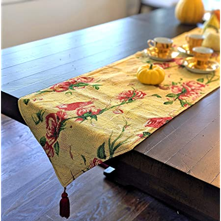 Tache Floral Red Roses Birds Golden Woven Table Runner - Vintage Tapestry Kitchen Dining Dinner Linens Cloth - 13 x 90 inches