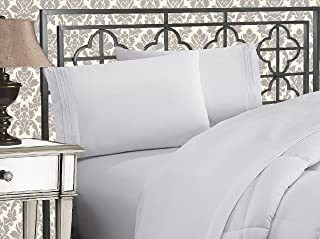Elegant Comfort Luxurious & Softest 1500 Thread Count Egyptian Three Line Embroidered Softest Premium Hotel Quality 4-Piece Bed Sheet Set, Wrinkle and Fade Resistant, Full, White