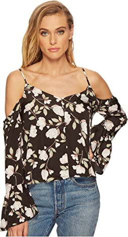 J.O.A. - Button Front Cold Shoulder Flare Top
