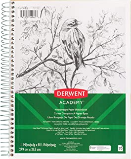 "Derwent Academy Heavyweight Paper Sketchbook, Wirebound, 70 Sheets, 11"" x 8-1/2"" (54962)"