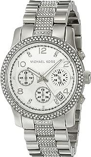 Runway Analog Quartz Silver Stainless Crystal Glitz Chronograph Women's Watch MK5825