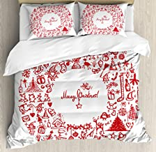 Ambesonne Christmas Duvet Cover Set, Vintage Merry Xmas Wreath with Several Noel Yule and Ribbons Candles Bells Image, Decorative 3 Piece Bedding Set with 2 Pillow Shams, Queen Size, Red