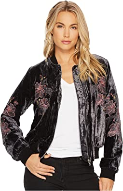 J.O.A. - Embroidered Velvet Bomber Jacket