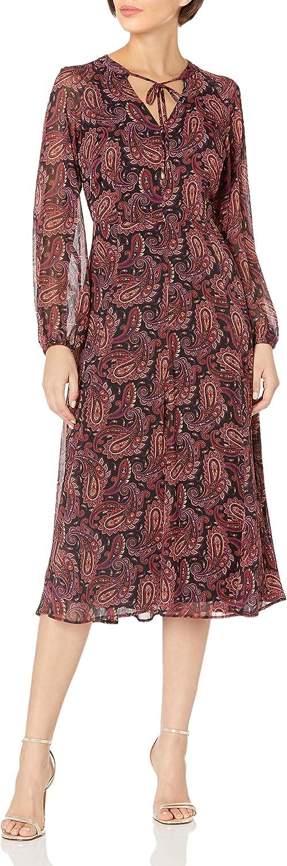 Tommy Hilfiger Women's Chiffon Long Sleeve Midi Dress