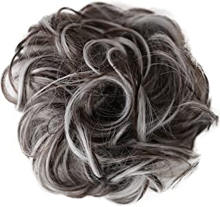 PRETTYSHOP Hairpiece Hair Rubber Scrunchie Scrunchy Updos VOLUMINOUS Curly Messy Bun brown gray mix # 10H1001B G25E