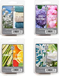 Hosley Set of 4 Assorted Scent Wax Cubes Melts 1.25 Ounce Each Hand Poured Wax Infused with Essential Oils Ideal Gift for Weddings Spa Reiki Meditation Settings O4