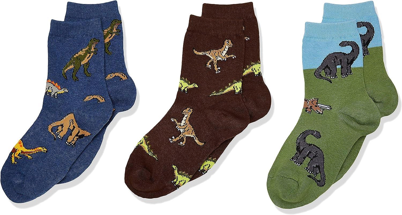 Jefferies Socks Little Boys' 3-7 Dino Triple Treat Socks (Pack of 3)