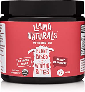 Llama Naturals Organic Vitamin D3 Gummies (Adults + Kids); Real Fruit, No Added Sugar or Sweeteners; Health...