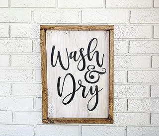 43LenaJon Panneau de buanderie avec inscription « Wash and Dry », « Laundry Room », « Wash and Dry », « Laundry Room », « ...