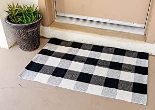 Eximius Power Buffalo Plaid Rug - Kitchen/Bathroom/LivingRoom/Bedroom/Front Door Mat/Outdoor - Plaid Washable Welcome Decorations - Indoor Runner Doormat Hand-Woven Checkered Carpet Rugs (White/Black