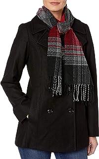 Peacoat سینه دو سایز زنانه London Fog با روسری