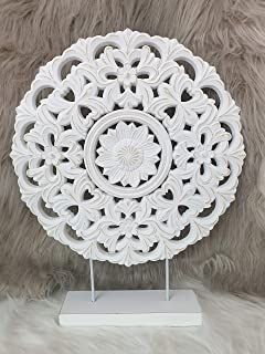 Atmosphera - Décoration à Poser Cercle Sculpté en Bois Effet Blanchi H 48 cm