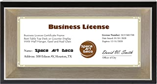 Space Art Deco 4x9 Business License Frame - Black Color with Silver Champagne, Beveled Edge Inner Depth - Table Easel Stand - Real Glass (4x9, Photo Frame Only)