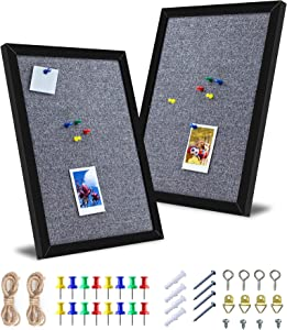 RTOGM Cork Boards for Wall with Frame, 2-Pack Bulletin Board, 50 Pushpins, 16