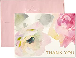 Hallmark Thank You Cards, Watercolor Flowers (10 Cards with Envelopes)