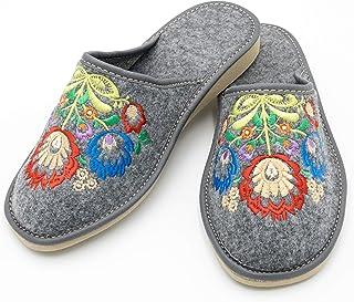 absoft Pantoufles pour femme, 100% feutre avec broderies à motif fleurs