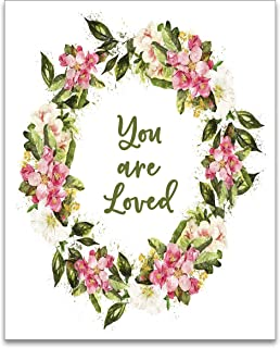 You Are Loved Floral Wreath Art Print - Baby Girl Nursery Decor - Unframed - 8x10 - UNFRAMED