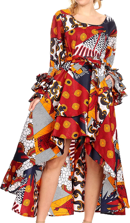 Sakkas Sofi Women's Long Sleeve HighLow Dress African Ankara with Pockets Party