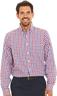 Savile Row Company Men's White Red Blue Poplin Check Classic Fit Non-Iron Casual Shirt