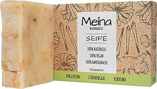 Meina Naturkosmetik - Seife mit Ringelblume, Zitronengras und Kurkuma, Bio Naturseife, Palmölfrei, Natürlich, Vegan, Handgemacht 1 x 100 g