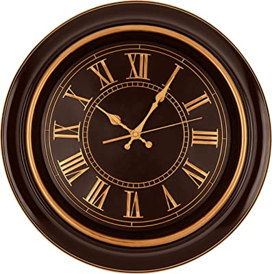 Amazon Com Bernhard Products Large Wall Clock 18 Quality Quartz Silent Non Ticking Battery Operated For Home Living Room Over Fireplace Beautiful Decorative Timeless Stylish Clock Mahogany Brown Copper Kitchen Dining