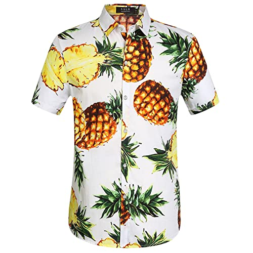 bf38eaa2b54e SSLR Men s Pineapple Short Sleeve Aloha Cotton Hawaiian Shirts