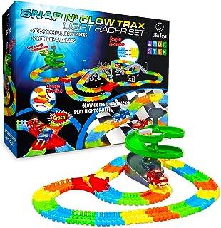 USA Toyz Glow Race Tracks for Boys or Girls – 360pk Glow in The Dark Flexible..