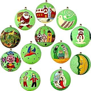 Set of 12 Bright Green Paper Mache Ball Christmas Ornaments Handmade in Kashmir, India