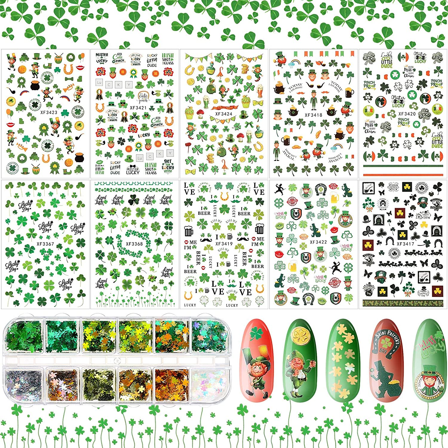 10 Sheets St. Patrick's Ranking TOP1 Day Nail Self-Adhesive Art N 3D Stickers Our shop OFFers the best service