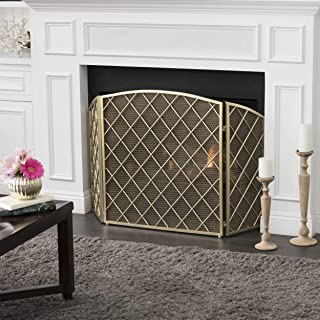 Christopher Knight Home Angella 3 Panelled Gold Iron Fireplace Screen