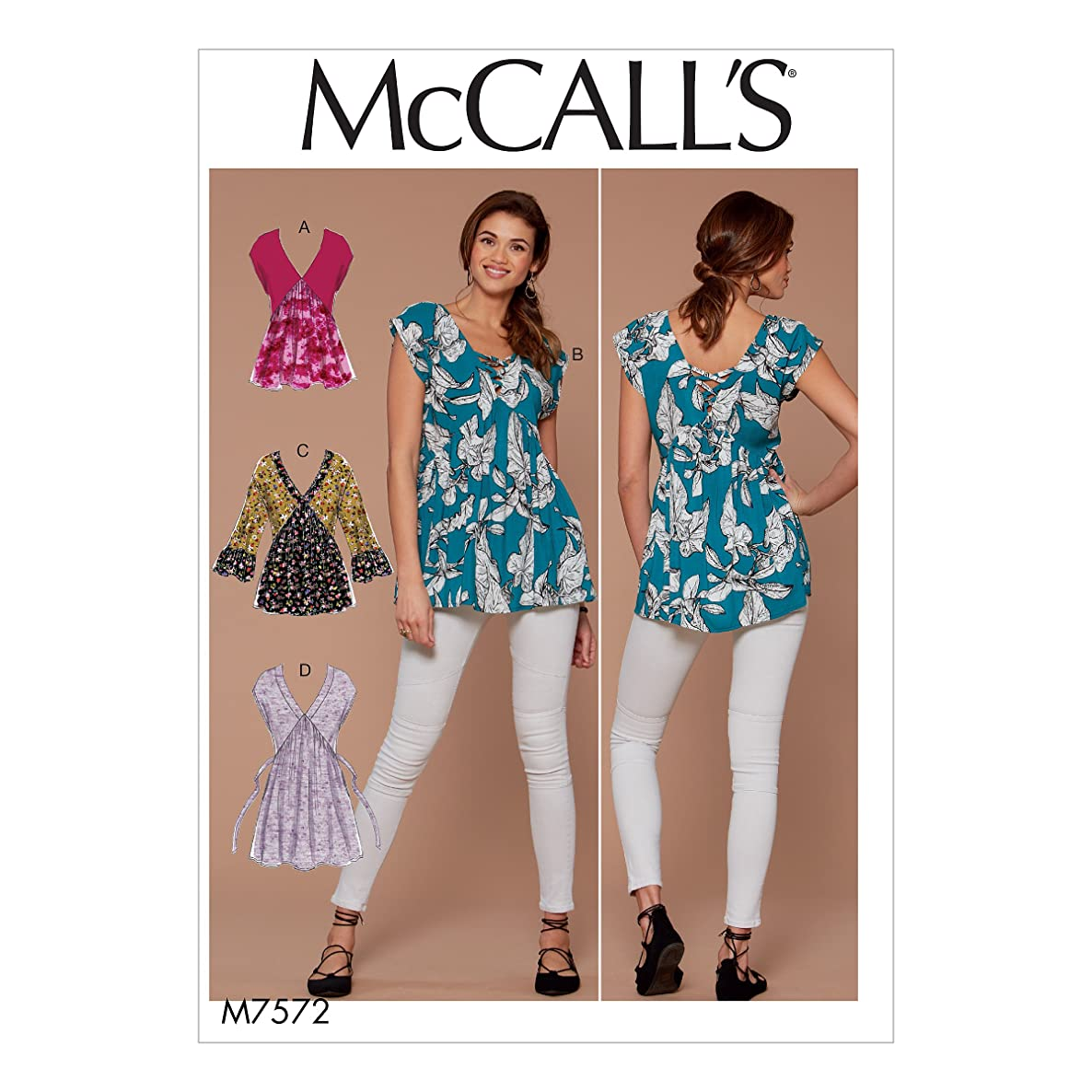 McCall Patterns M7572A50 Misses V-Neck/Gathered Tops with Sleeve and Tie Variations