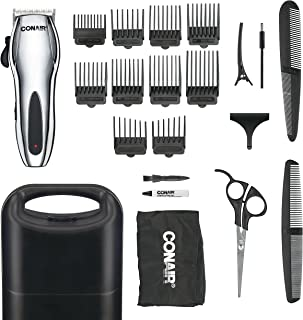 Conair Cord/Cordless Rechargeable 22-piece Haircut Kit; Home Hair Cutting Kit; Chrome