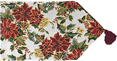 Tache Home Fashion 6250TR-13X67 Festive Floral Christmas Deck The Halls Poinsettia Tapestry Table Runner, 13 x 67, White Red