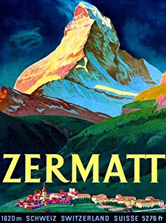 A SLICE IN TIME Zermatt Switzerland Swiss Matterhorn Schweiz Suisse Europe Vintage Travel Advertisement Art Collectible Wall Decor Poster Print. 10 x 13.5 inches