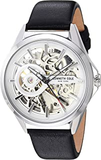 Men's Automatic Stainless Steel Japanese-Quartz Watch with Leather Strap, Black, 17.2 (Model: KC50923001)