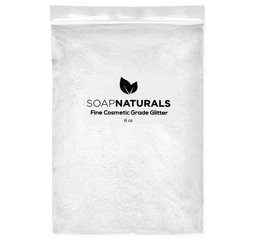 SoapNaturals Cosmetic Grade Glitter for Bath Bombs, Safe for Skin, Bulk 1/2 Pound 8 Ounce, Medium Fine, Soap Making Supplies (Pure White)