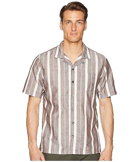 TODD SNYDER Short Sleeve Wide Stripe Shirt, Brown