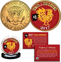 2017 Chinese CNY New YEAR OF THE ROOSTER 24K Gold Plated JFK Half Dollar Coin
