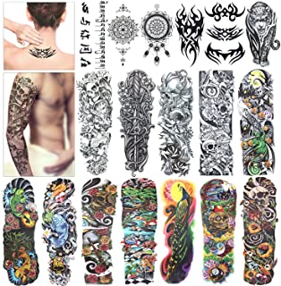 Full Arm Temporary Tattoo, Konsait Extra Temporary Tattoo Black tattoo Body Stickers for Man Women (18.